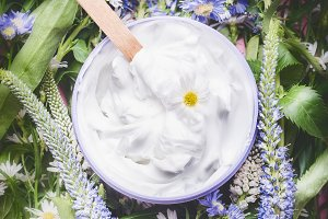 Herbal cosmetic cream with herbs