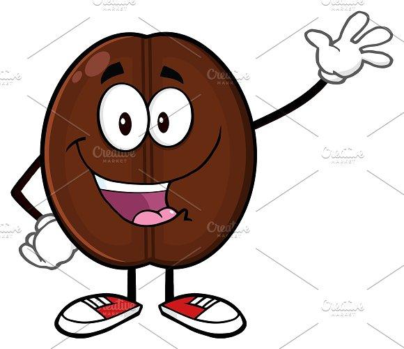 Happy Coffee Bean Character Waving