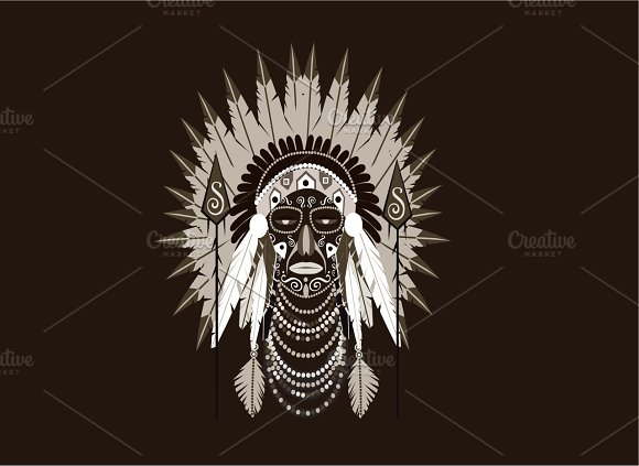 Indian Chief With War Bonnet Vector