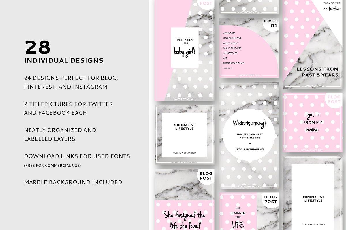 2fac43892911 Pepita Blog Post   Social Media ~ Pinterest Templates ~ Creative Market