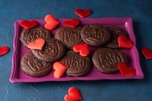 Chocolate cookies for Valentine's da
