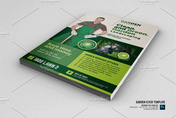lawn care and landscaping services flyer templates creative market