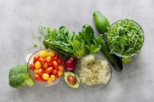 Set of ingredients for detox salad