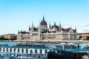 Cityscape of Budapest with Parliament building