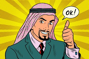 Thumbs up Okey, the Arab businessman