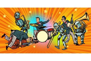 jazz rock n roll band of humans and robots