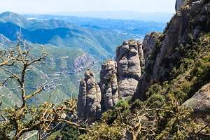 View view of the delightful mountains Montserrat , Catalonia, Spain
