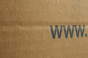 www internet url on cardboard box