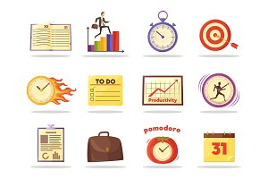 Set of Productivity Time Management Colored Icons