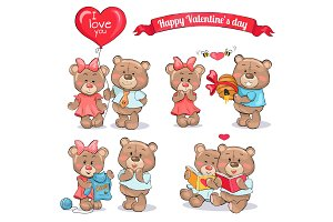 Happy Valentines Day Set of Teddy Bears Couples