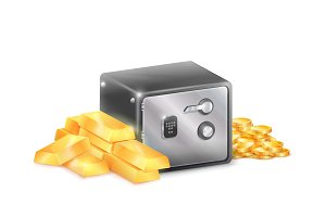 Metal Safe Strongbox with Golden Coins Gold Bars