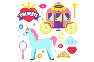 Princess Party Unicorn Poster Vector Illustration