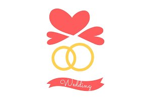 Wedding Rings and Hearts, Vector Illustration