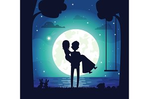 Silhouette of Couple in Love Vector Illustration