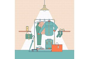 Clothes shopping concept illustration.In flat thin lines outline style icons
