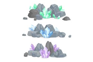 Natural Crystals Clusters in Solid Stones Set