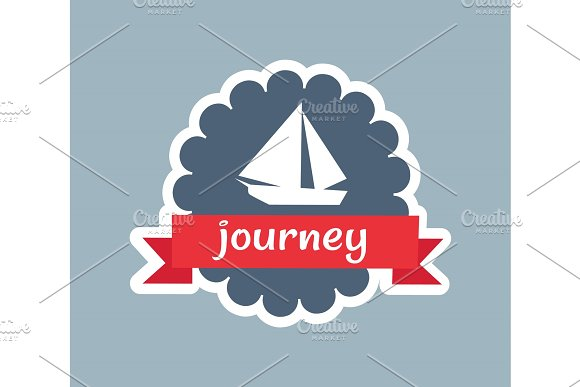 Journey Card With Red Ribbon Vector Illustration