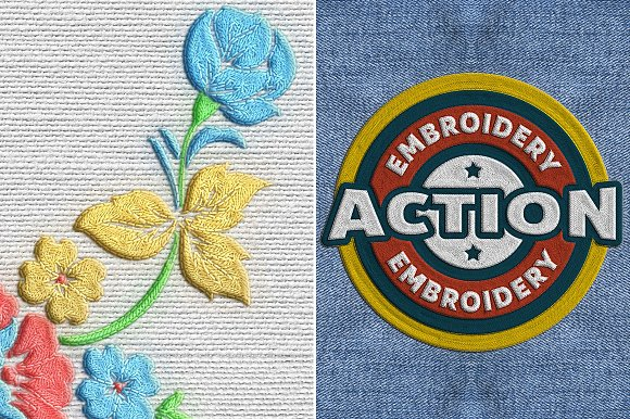 Embroidery Photoshop Action Actions Creative Market