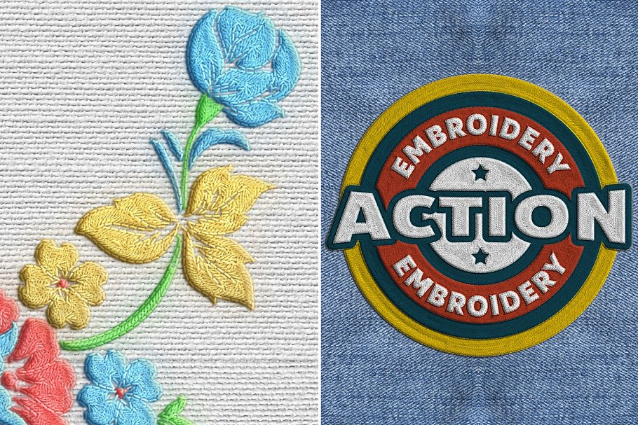 Machine Embroidery Photoshop Actions ~ Photoshop Add-Ons ~ Creative