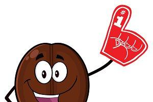 Happy Coffee Bean Mascot Character