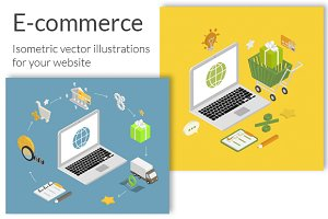 Isometric e-commerce illustrations
