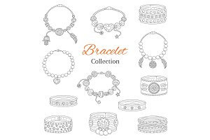 Fashionable bracelets collection, vector hand drawn doodle illustration.