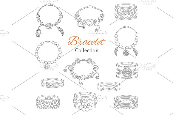Fashionable Bracelets Collection Vector Hand Drawn Doodle Illustration