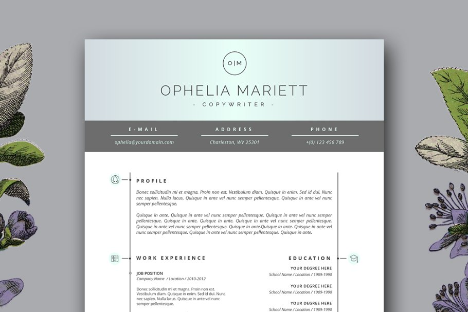 Contemporary Resume Templates | Modern Resume Template Cv Design Resume Templates Creative Market