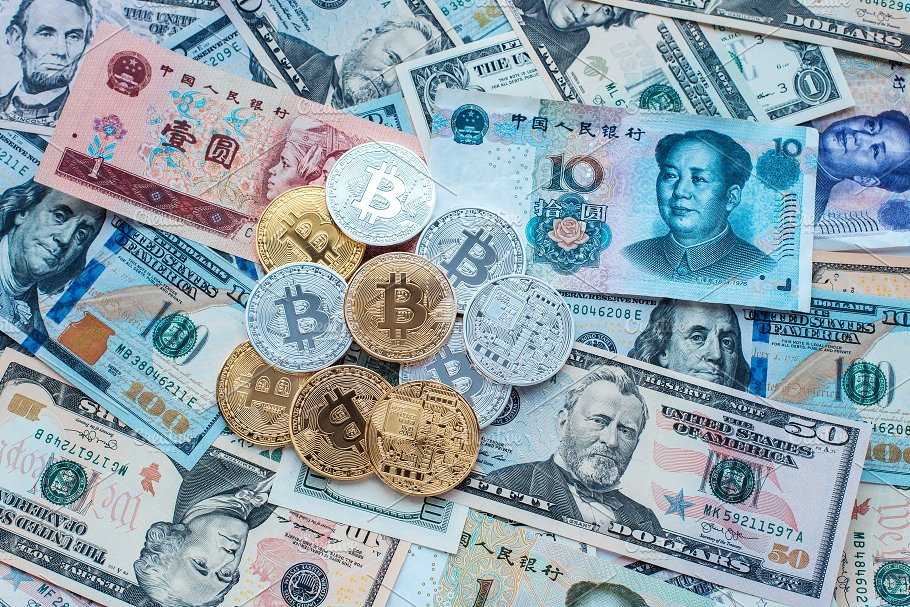 Paper Denominations Us Dollars Chinese Yuan Metal Coins Bitcoin Gold And Silver
