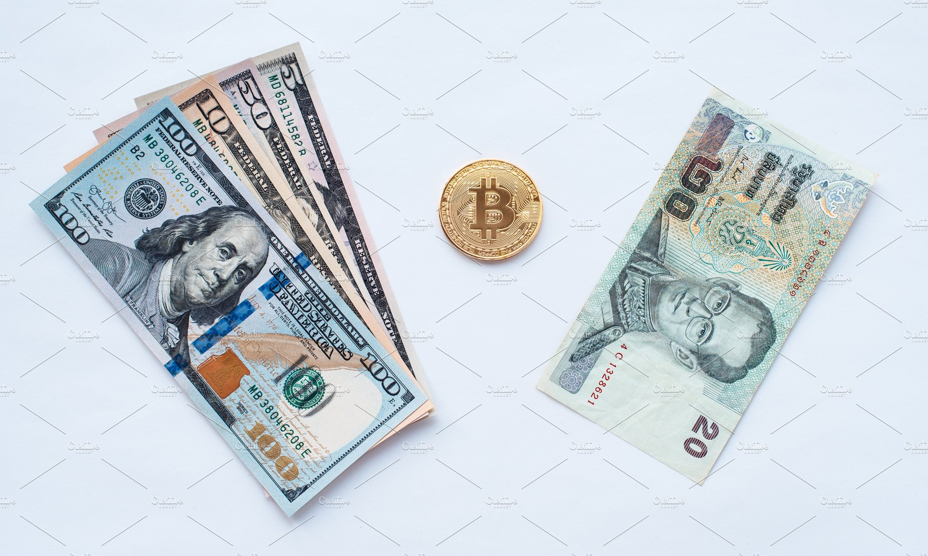 On A White Background Exchange Of Thai Baht For Us Dollars Metal Coin Bitcoin In Paper Money From Crypto Currency Business Images Creative Market