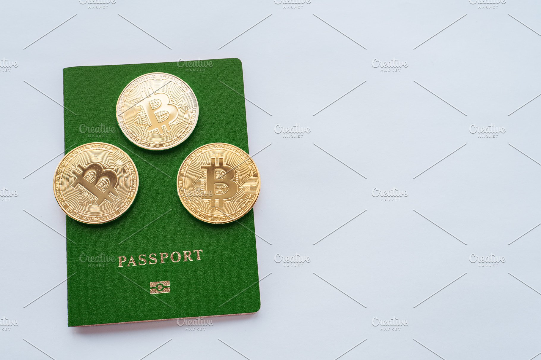 Green passport white background, digital currency bitcoin, gold coins   Crypto account identification currency  ID confirmation  Verification