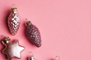 Glitter pink Christmas balls