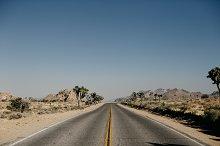 Open highway in Joshua Tree