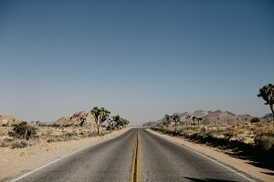 Open highway in Joshua Tree