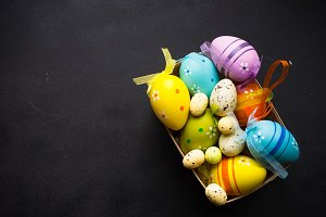 Easter concept with colored eggs