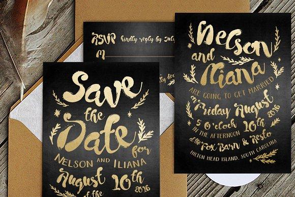 black gold hipster wedding suite invitation templates creative