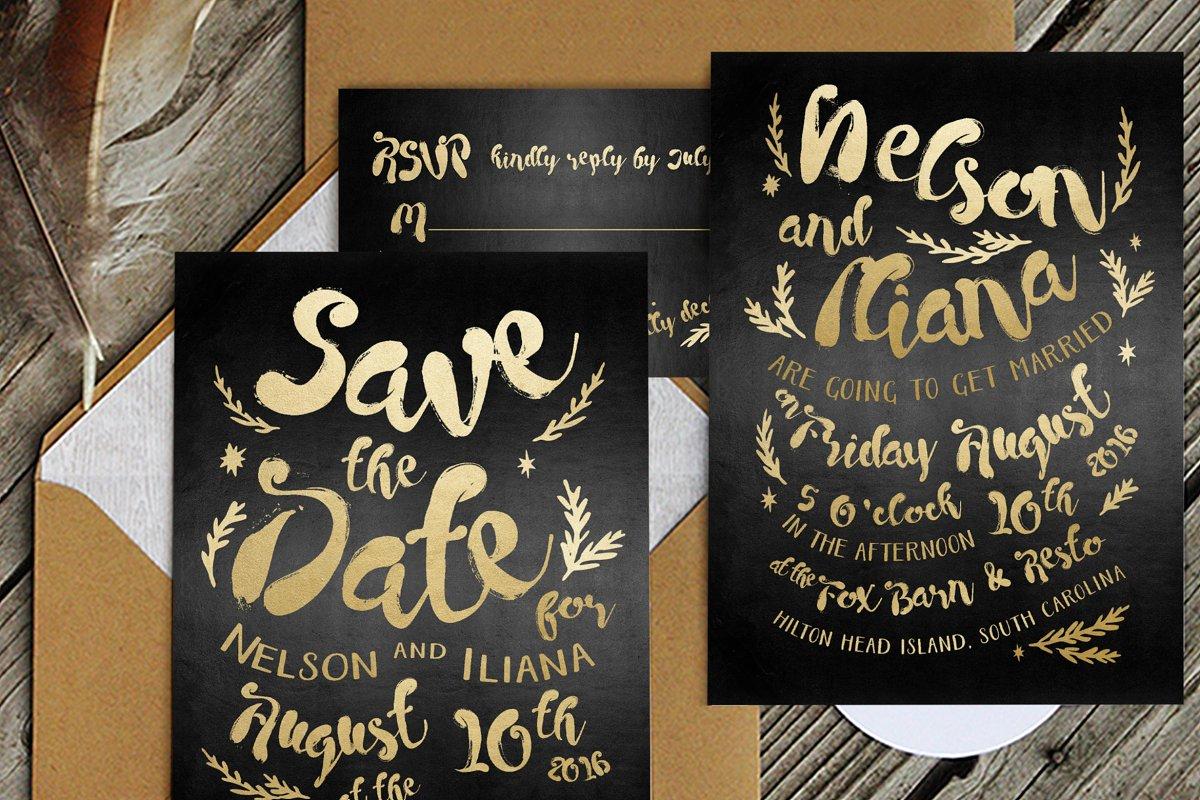 Black Gold Hipster Wedding Suite Templates Creative Market