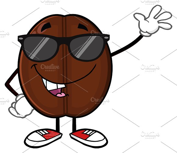 funny coffee bean character waving illustrations creative market