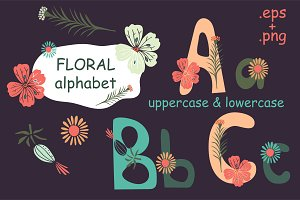 Floral alphabet graphic collection