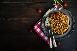 Organic food concept with chick pea