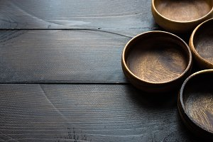 Empty wooden bowls