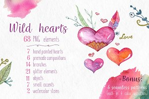 Wild Hearts: Watercolor Clip Art set