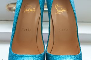 Sparkly blue shoes photo