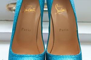Sparkly blue shoes photo