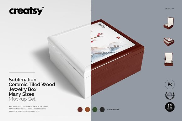 Tiled Wood Jewelry Box Mockup Set