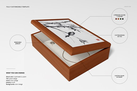 Tiled Wood Jewelry Box Mockup Set in Product Mockups - product preview 3
