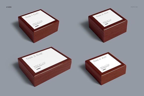 Tiled Wood Jewelry Box Mockup Set in Product Mockups - product preview 4