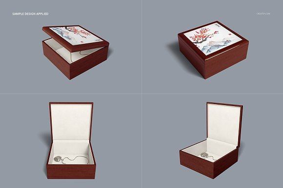 Tiled Wood Jewelry Box Mockup Set in Product Mockups - product preview 6