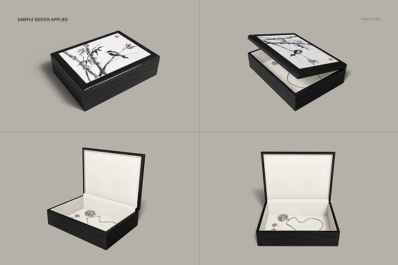 Tiled Wood Jewelry Box Mockup Set in Product Mockups - product preview 8