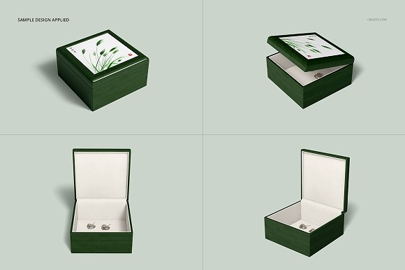 Tiled Wood Jewelry Box Mockup Set in Product Mockups - product preview 10